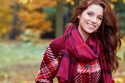 Beautiful brunette girl walking the park