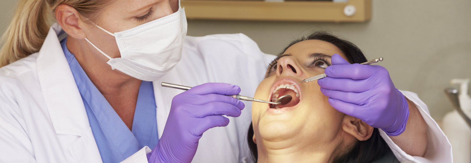 A woman having a dental check up