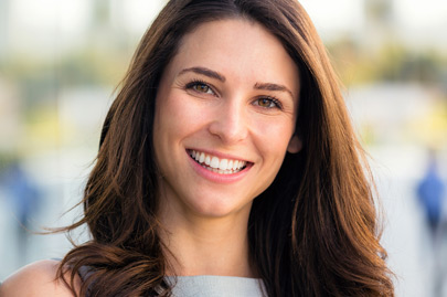 Naturally beautiful woman with perfect white teeth smile