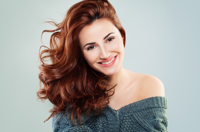 Redhead Woman Fashion Model Smiling
