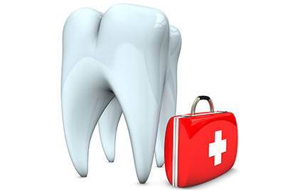 White tooth with emergency case